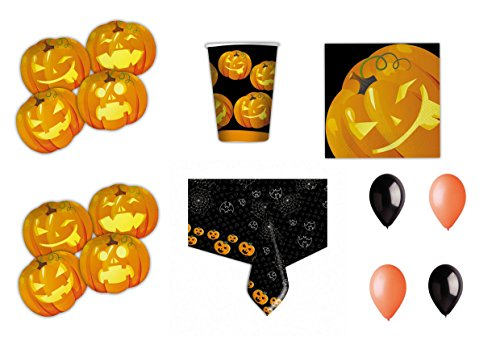 (Halloween Kürbis koordinierten Dekorationen Party–Kit N ° 20cdc- (40Teller, 40Gläser, 32Servietten, 1Tischdecke, 25Luftballons schwarz, 25Bälle Orange))