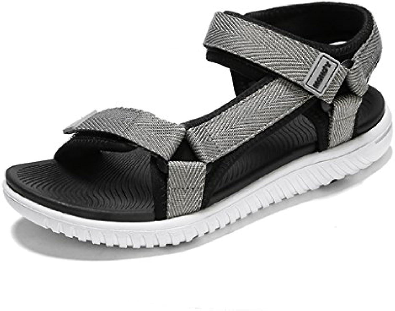 Zapatos de Mujer de Cuero Sandalias de Confort de Verano Zapatos de Tacón Plano Peep Toe Hebilla para Mamá