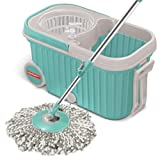 #1: Spotzero by Milton Elite Spin Mop with Bigger Wheels & Auto Fold Handle for 360 Degree Cleaning (Aqua Green, Two Refills)