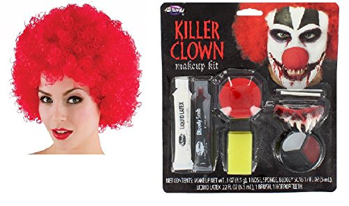 en Make Up Kit With Teeth, Nose, Latex, Bloody Scab, Paint & Red Afro (Halloween Clown Outfits)