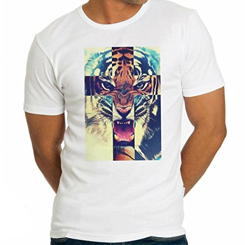 Cross Angry Lion Swag Dope Poster Herren T-Shirt Weiß