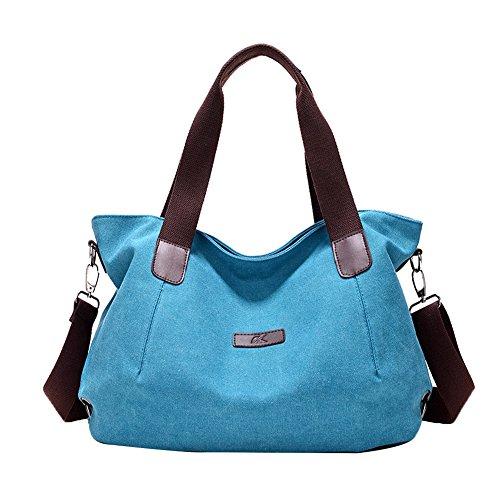 Pb-soar Borsa A Tracolla Vintage In Tela Da Donna Borsa A Tracolla Borsa Shopper Boa 44x29x14cm (lxxx), 5 Colori Selezionabili (grigio) Blu