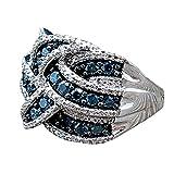 Toamen Anillo Azul Zafiro Regalos Nupciales De Compromiso De Mujeres JoyeríA (Tamaño: 9, Azul)
