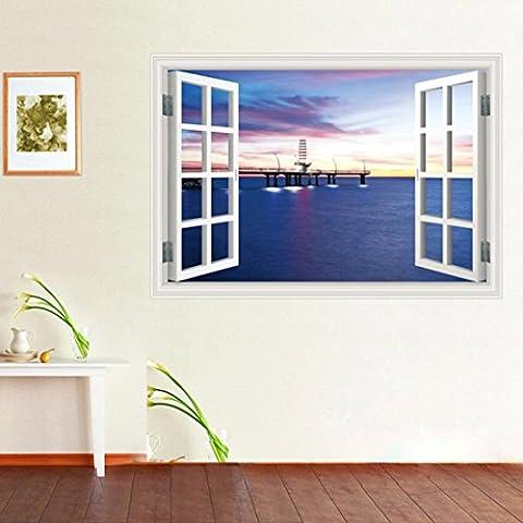 In 3D rimovibili finta finestra View Sea Beach Scenery Adesivo da parete Vinyl Wall Stickers Decals 3020A Seaport Nightview