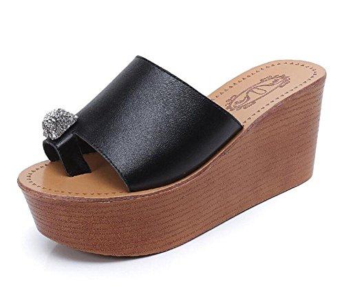 GLTER Frauen Maultiere Open Toe Sandalen 2017 New Thick Bottom High Slope Diamond Leder Cool Pantoffeln Weibliche Sommer Pine Cake Toe Leder Strand Schuhe Black