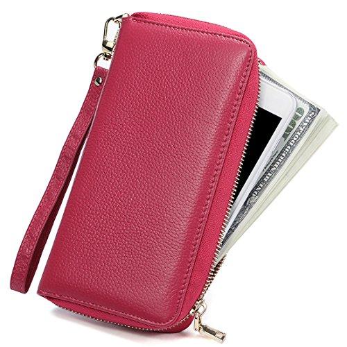 Huztencor Große Geldbörse Damen Clutch Portemonnaie Lang Leder Geldbeutel Frauen Portmonee RFID Schutz Brieftasche Geldtasche mit Reißverschluss und Handschlaufe Pink (Security Card Shield)