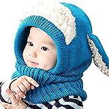 iHomey Wintermütze- und Schal-Set, niedlich mit Ohrenklappen und Ohren, aus Wollstrick, für Kinder von 6-36 Monaten, Kinder von 6-36 Monaten