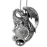DarkDragon Anhänger Drache mit Kristallkugel 925er Silber Schmuck Drachenanhänger – Glücksbringer - mit Halskette Silberkette 496