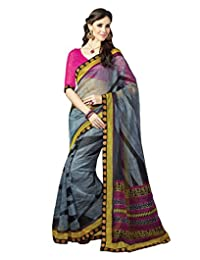 IndiWeaves Women Super Net Printed Grey Saree