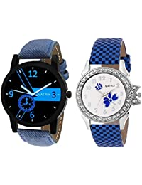 Matrix Round Analogue Blue and White Dial Watch for Men and Women (Pack of 2) - [BAE-2]
