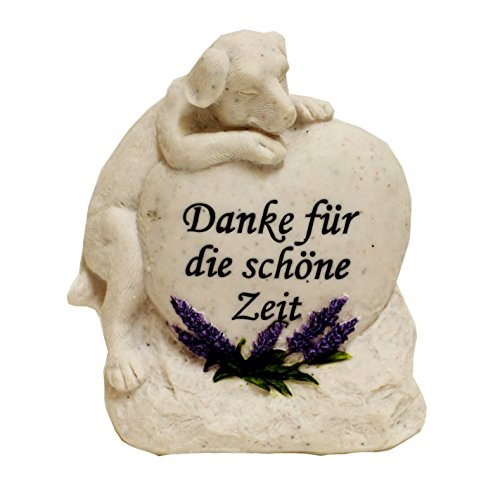 """Grabstein Hund Tiergrabstein mit Spruch Polyresin Gedenkstein """"Danke für die schöne Zeit"""""""