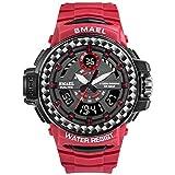 HZC Montres de Sport Hommes Montres Numériques Hommes Horloge Montres Double Temps Étanches Montres de Sport en Plein Air (Couleur : Rouge)