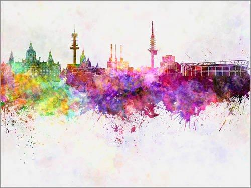 Leinwandbild 120 x 90 cm: Hannover Skyline in Aquarell von Colourbox - fertiges Wandbild, Bild auf...