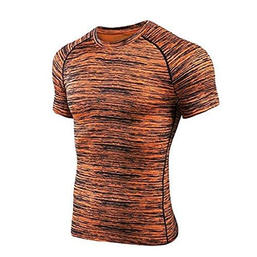 Sommer-Frühlings-Mann-Kurzschluss-Hülsen-laufendes T-Shirt Kühle Breathable schnelle trockene Yoga-Turnhalle-Eignung-Oberseiten, die Training-Sportkleidung wandern Orange L (Kurzarm-pj Top)