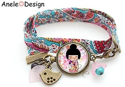 Bracelet liberty Kokeshi poupée japonaise - rose noir violet