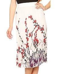 Sakkas Caasi Midi Pleated Light Crepe Skirt with Print and Elastic Waist