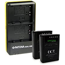 PATONA 2in1 Dual Cargador + 2x Premium Bateria PS-BLN1 para Olympus OMD E-M5 EM5 Mark II Stylus XZ-2 Pen E-P5 E-M1 con Micro USB