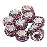Contever® 10 Beads Glücksbringer Flach Strass Kugeln für Damen Armband - Lila