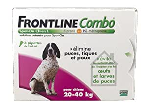 Merial - Chiens - FRONTLINE COMBO - Grand chien 20-40kg - 3pip - Anti-puce, anti-tique