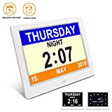 SSA Alarm Clock, Digital Calendar Day Clock Clear Large Non-Abbreviated Day & Month