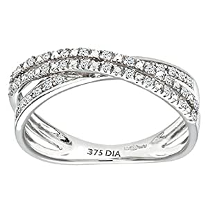 Naava 9 ct White Gold 0.15ct 2-Row Diamond Crossover Ring