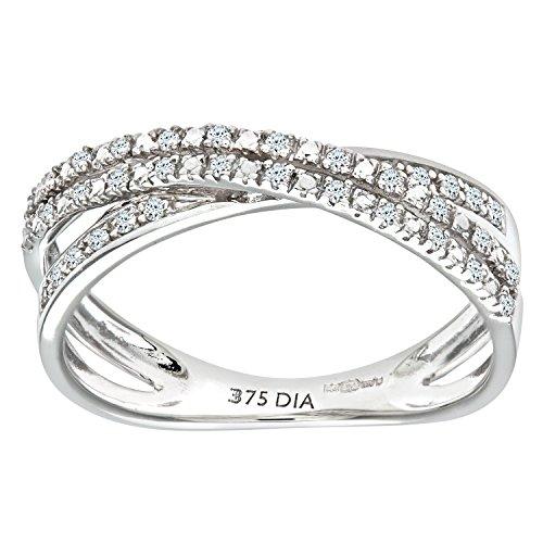 Naava Anillo para Mujer de Oro Blanco 9K con 36 Diamantes talla 9