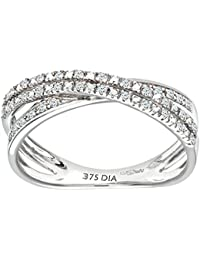 Naava 9ct White Gold 0.15ct 2-Row Diamond Crossover Ring