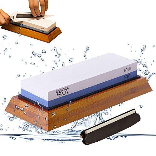 Kit de piedra afiladora de cuchillos de primera calidad con 2 piedras de afilado laterales 1000/6000 grano afilador y piedra de agua para afilar y afilar la cocina, base antideslizante y guía de ángulo