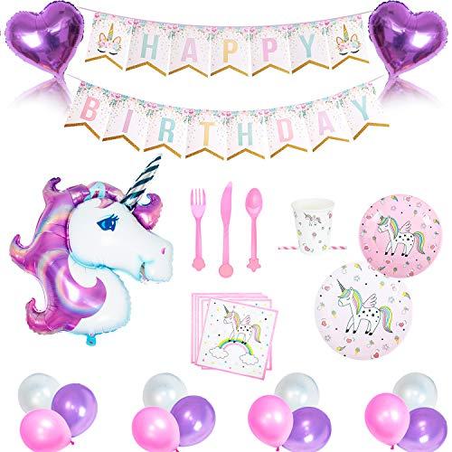 Geila 112pcs Licorne fête et kit Vaisselle–Rose et violet Ballons en latex avec Happy Birthday Guirlande de fanions, assiettes, tasses, serviettes, pailles Décorations Unicorn Party Supplies