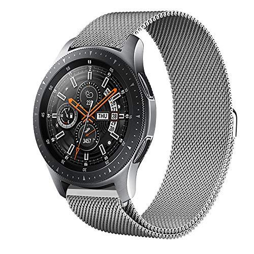 squarex Luxuriöses Milanaise-Armband aus Edelstahl und Metall für Samsung Galaxy Watch 42 mm, für Samsung Galaxy Watch 46 mm, Damen, Silber, for Samsung Galaxy Watch 42mm