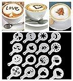 16x Cappuccino Schablone Kaffee Kuchen Deko Tools