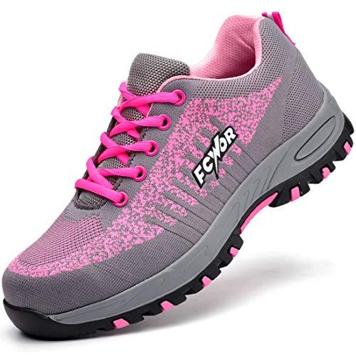 SROTER Unisex Zapatillas de Seguridad con Puntera de Acero Hombre Mujer Zapatos de Trabajo Transpirables...