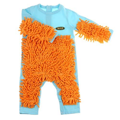 Fenteer Lustiger Baby Kleidung Wischmop Strampler Overall Mädchen Jungen Jumpsuit Babykleidung zum Krabbeln - Hellblau, 85 cm