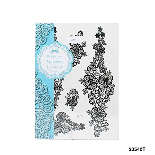 Henna & Lace Tattoos mit verschieden große, wie gehäkelte Blumen-Muster in Doodle-Kunst (schwarz) -