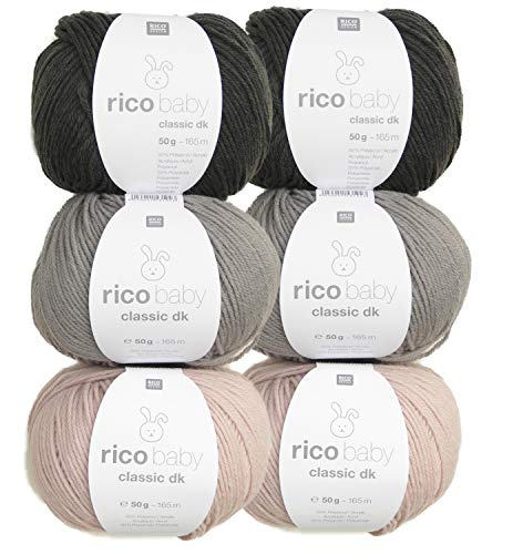 Woll-Set Babywolle Rico Baby Classic 6x50g #26, weiche Wolle zum Stricken und Häkeln