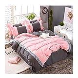 KFZ-Bettwäsche-Set, Prinzessinnen-Design, 4 Stück, Spitze, Spitze, Bettlaken, 2 Kissenbezüge, Keine Decke, einfarbige Designs, Microfaser, Pink Grey, Queen 78
