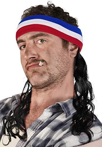 Balinco Vokuhila Kopfband mit Haaren Stirnband Hillbilly Headband Prollperücke perücke Proll Perücke Pimp (Schwarz)