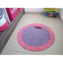 Tapis Au Crochet Pour Chambre De Bébé Ou Petite Fille, Tapis Violet Et Rose  Pour