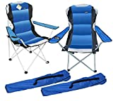 2 x Blue Luxury Padded Folding Camping Chairs Fishing Festivals Garden SUMMER