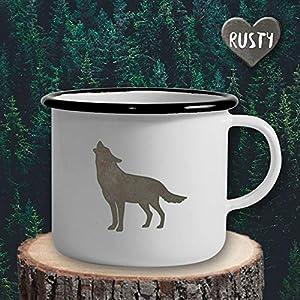 The Manufacture Wolf Tier Hund Emaille Becher Tasse als Geschenk, weiß Outdoor Ausstattung