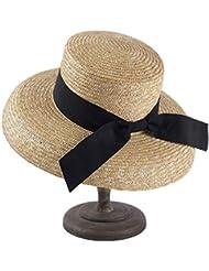 d3d6d0611eca4 Sombrero para el sol 2019 Nuevo Cinta Negra Tipo de Reloj de Moda Paja  Borde Grande