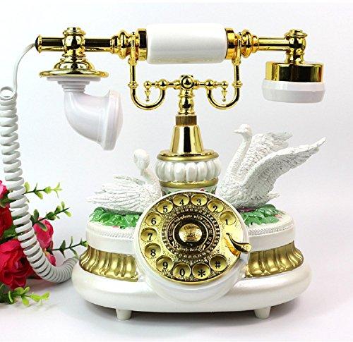K-dd telefono vintage classico con quadrante a pulsante,white