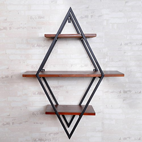 Einfache kreative Leiste An der Wand befestigte rautenförmige dreireihige Regale 60 * 80 cm