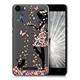 Coque Wiko Jerry, IJIA Ultra-mince Transparent Romantique Fille Colorful Papillon Jupe TPU Doux Silicone Bumper Case Cover Shell Housse Etui pour Wiko Jerry