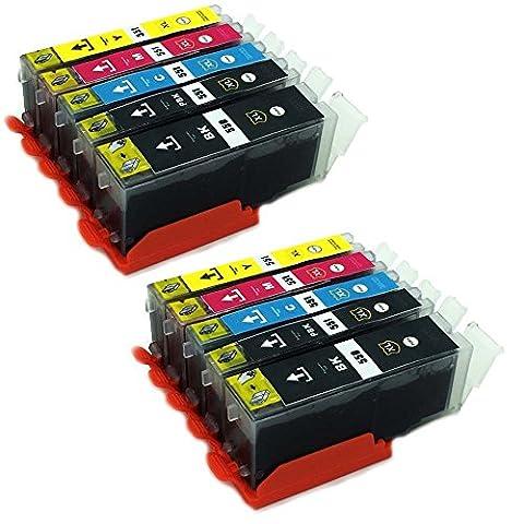 Pack économique de 10 Cartouches d'encre XL compatibles avec les imprimantes pour Canon Pixma MG7550 MG7150 MG6650 MG6450 MG6350 MG5650 MG5550 MG5450s MG5400 MG5450 IP7250 IP8750 IX6850 MX725 MX925 compatible 4 x 550BK XL noir 2 x Canon 551BK XL photonoir 2 x 551C XL Bleu 2 x 551M XL rouge 2 x 551Y XL jaune avec puce