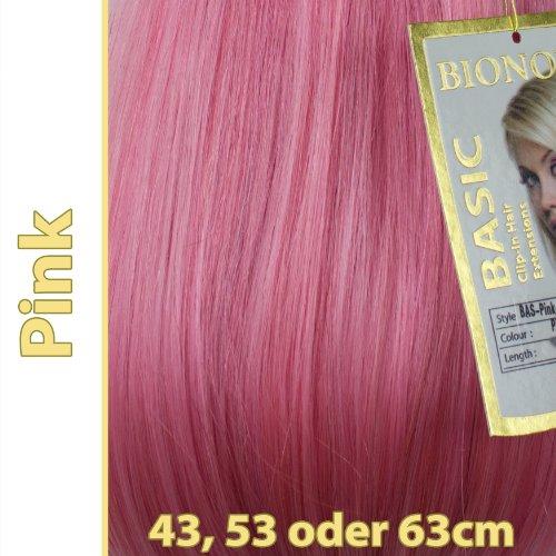 Clip-in Haar Extensions mit Echthaar, Pink, in 40cm, 50cm od. 60cm (+), BASIC von BIONORA, Haarverlängerung