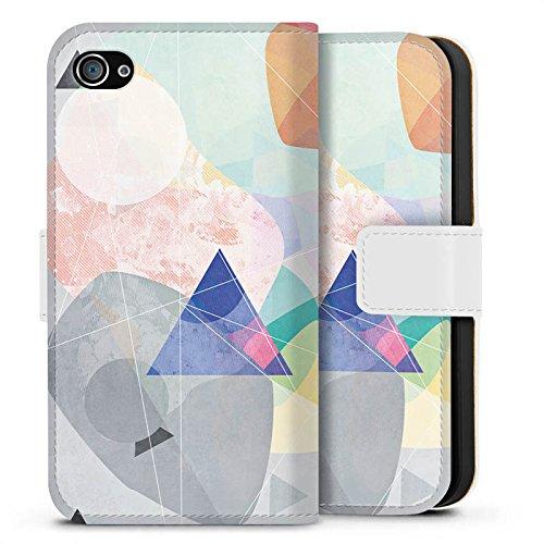 Apple iPhone X Silikon Hülle Case Schutzhülle Muster Design Dreieck Sideflip Tasche weiß