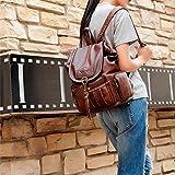 Shuibian Shuibian Neue Frau Weichem Leder Rucksack Lässig Weiblicher Beutel Anti Diebstahl Tasche Wasserdichte Nylon Schule Reise Arbeit (Khaki) (Schwarz)