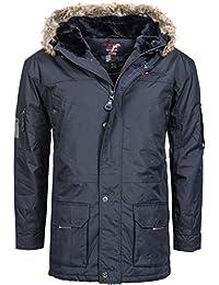 Chaqueta de invierno | abrigo de invierno para | Invierno Parka para hombre modelo achem de Geographical Norway–Elegante corta de abrigo de estilo parka con capucha forrada de piel sintética