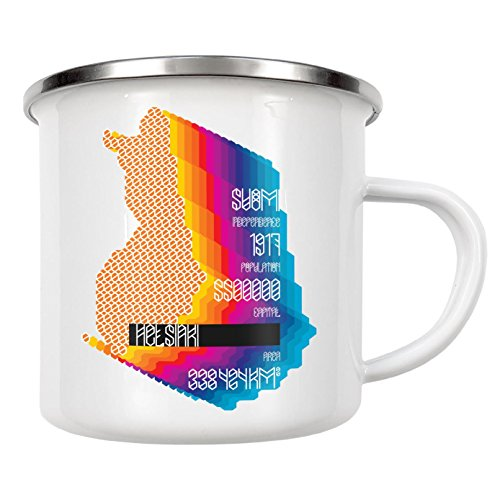 """artboxONE Emaille Tasse """"Finland"""" von Sasha Lend - Emaille Becher Kartografie"""